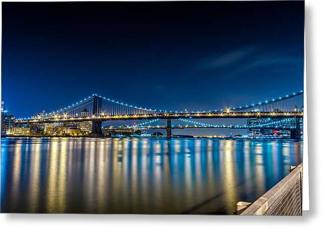 Manhattan Bridge And Light Reflections In East River. Greeting Card