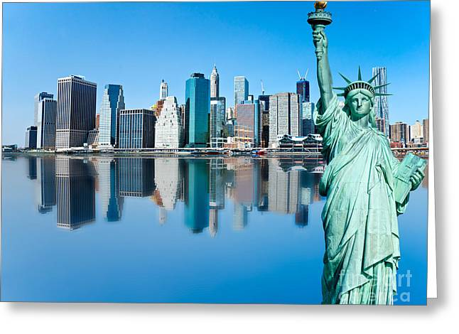 Greeting Card featuring the photograph Manhattan Liberty by Luciano Mortula