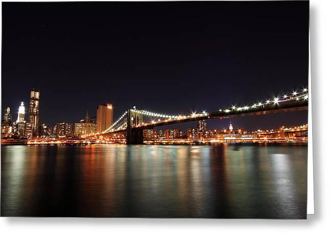 Manhattan Nightscape With Brooklyn Bridge Greeting Card by Kean Poh Chua