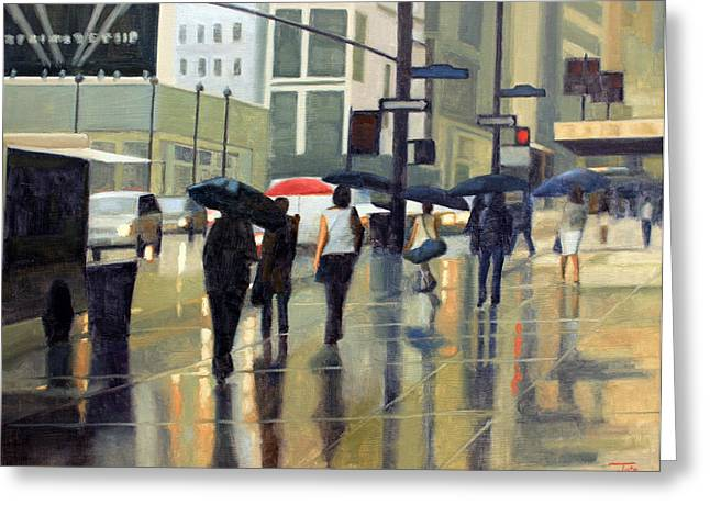 Manhattan Rain Greeting Card