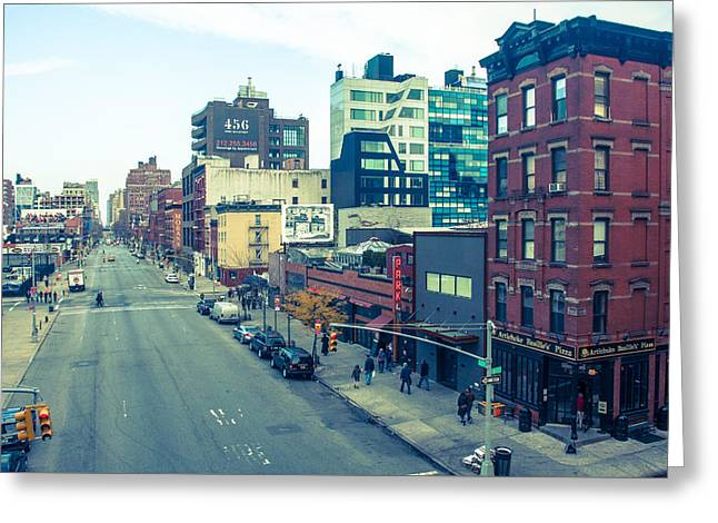 Manhattan Street Scene Greeting Card by Nancy Kennedy
