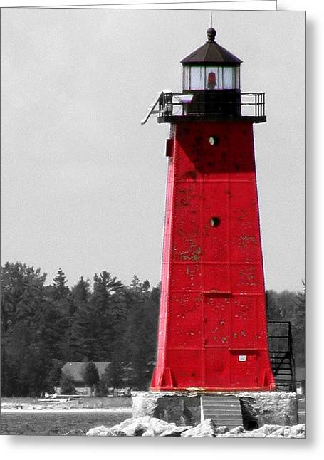 Greeting Card featuring the photograph Manistique East Breakwater Light With Selective Color by Mark J Seefeldt