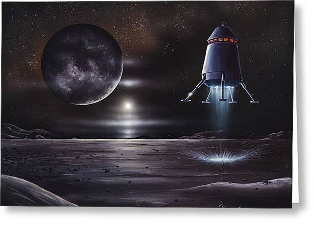 Manned Mission To Charon, Artwork Greeting Card by Richard Bizley