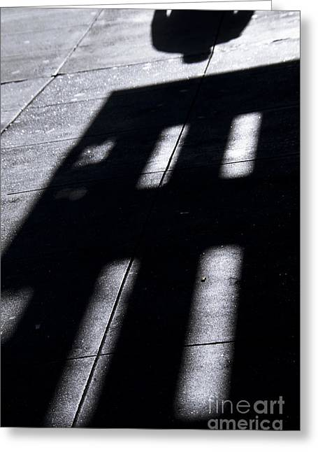 Olia Saunders Greeting Cards - Mans Shadow Black White Greeting Card by Design Remix