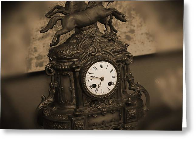 Mantel Clock Greeting Card by Mike McGlothlen