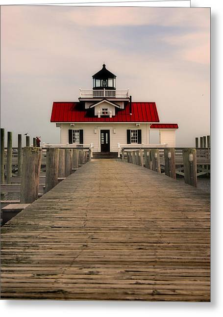 Greeting Card featuring the photograph Manteo Lighthouse by Cindy Haggerty