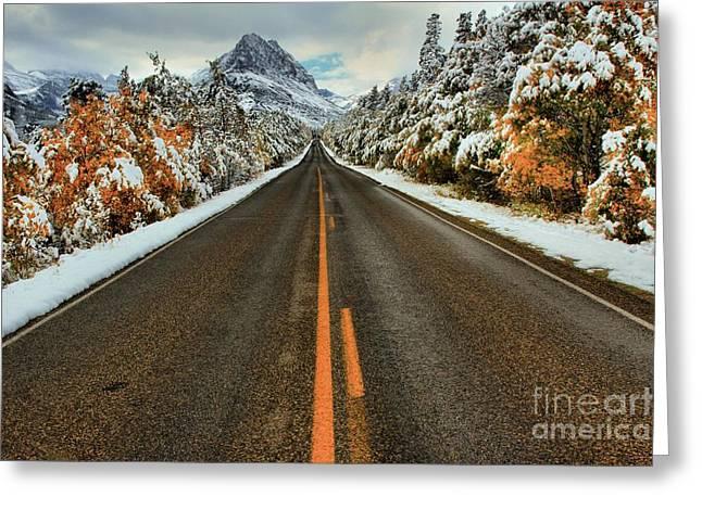 Many Glacier Road Greeting Card by Adam Jewell