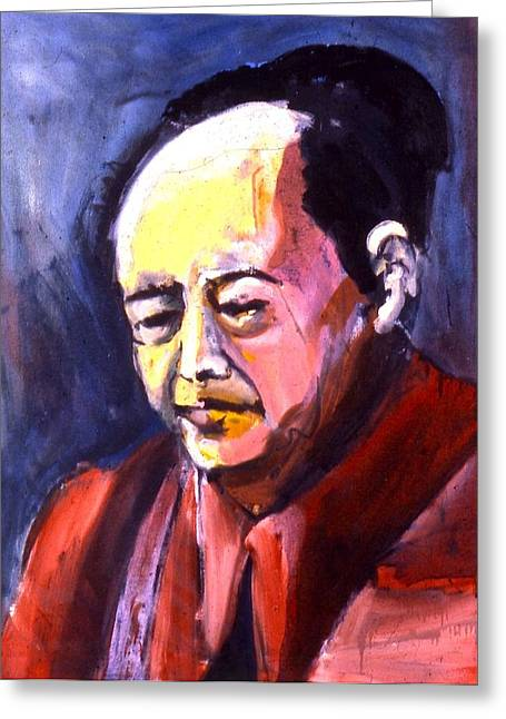 Greeting Card featuring the painting Mao by Les Leffingwell