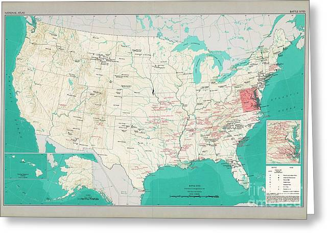 Map Battlefield Sites United States Greeting Card by Roberto Prusso