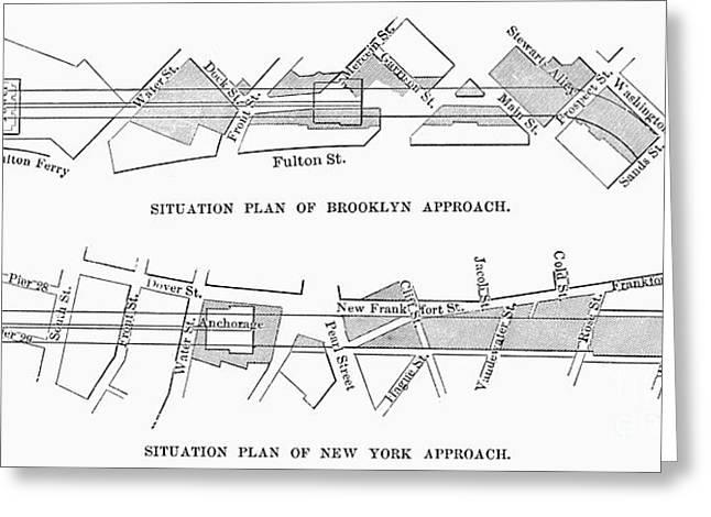 Map: Brooklyn Bridge Greeting Card by Granger