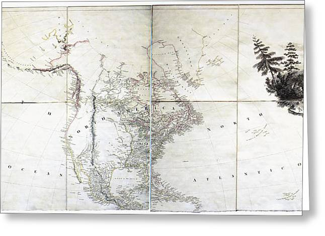 Map Of America, C1804 Greeting Card by Granger