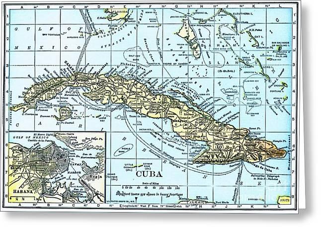 Map Of Cuba Greeting Card