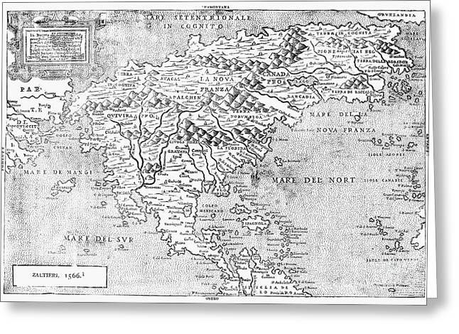 Map Of New France, 1566 Greeting Card