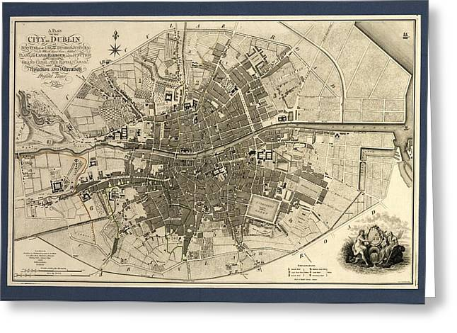 Map Of The City Of Dublin, 1797 Greeting Card