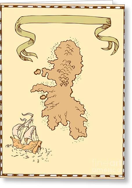 Map Treasure Island Tall Ship Greeting Card