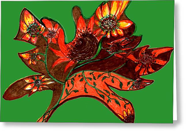 Maple Leaf With Sunflowers Greeting Card