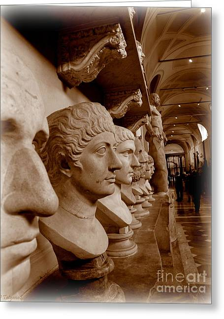 Greeting Card featuring the photograph Marble Busts. Vatican by Tanya  Searcy