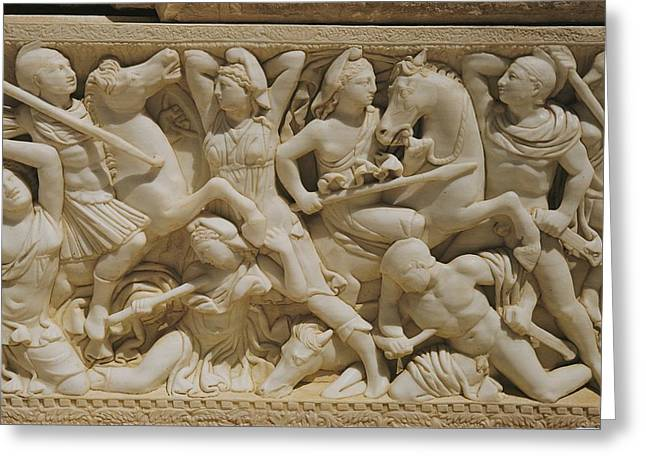 Marble Sarcophagus Depicting Greeks Greeting Card by Maynard Owen Williams