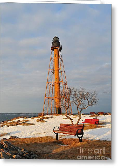 Marblehead Light Greeting Card by Catherine Reusch Daley
