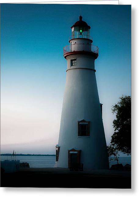 Marblehead Lighthouse Dusk Greeting Card by John Traveler