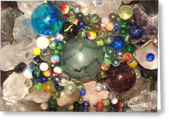 Marbles And Other Things Shiny Greeting Card by Rachel Carmichael
