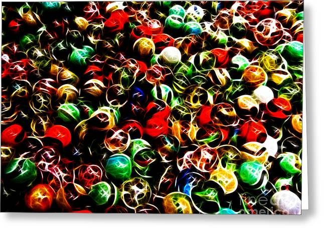 Marbles - Electric Greeting Card by Wingsdomain Art and Photography