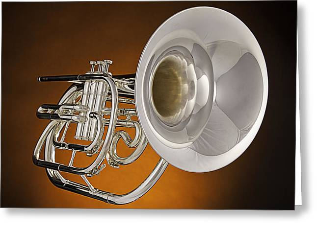 Marching French Horn On Orange Greeting Card by M K  Miller