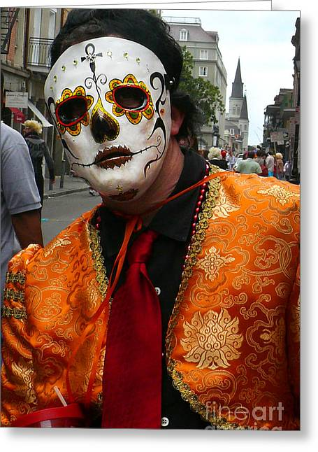 Greeting Card featuring the photograph Mardi Gras Man In Mask by Jeanne  Woods
