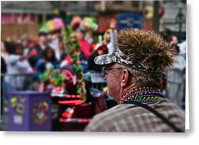 Greeting Card featuring the photograph Mardi Gras Man by Jim Albritton