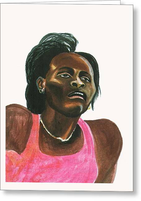 Maria Mutola Greeting Card by Emmanuel Baliyanga