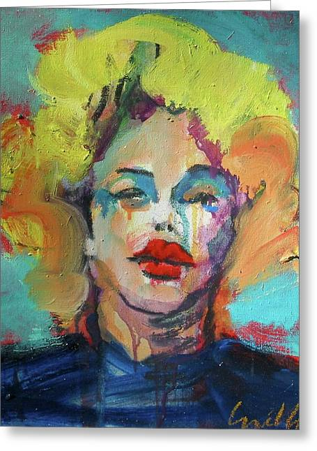 Greeting Card featuring the painting Marilyn 2010 by Les Leffingwell