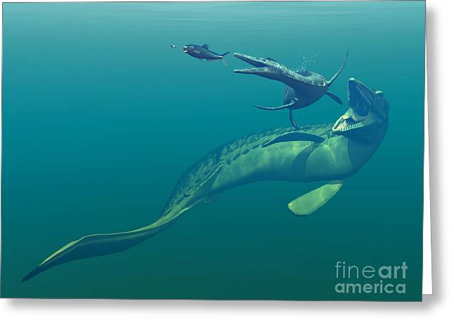 Marine Predators Of The Cretaceous Greeting Card by Walter Myers