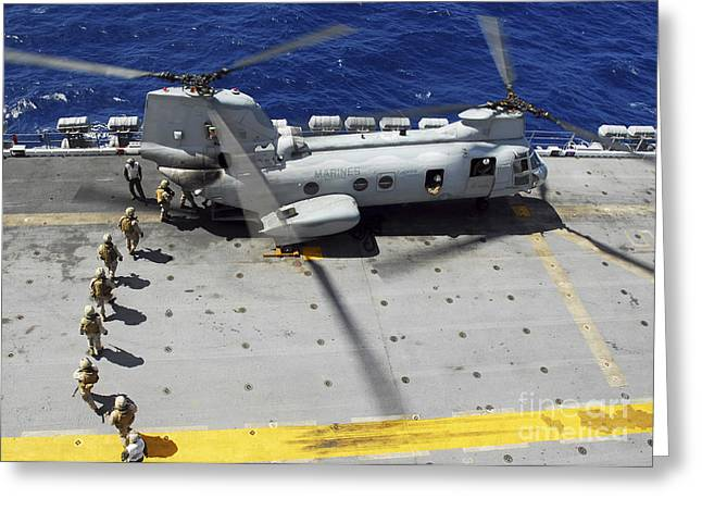 Marines Board A Ch-46e Sea Knight Greeting Card by Stocktrek Images