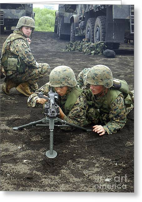 Marines Practice Setting Up An M240g Greeting Card