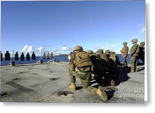 Marines Practice Shooting Their M4 Greeting Card by Stocktrek Images