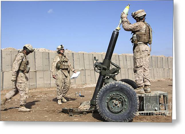 Marines Prepare To Fire A 120mm Mortar Greeting Card by Stocktrek Images