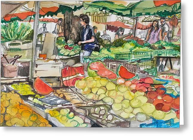 Market At Aix En Provence Greeting Card by Laurel Fredericks