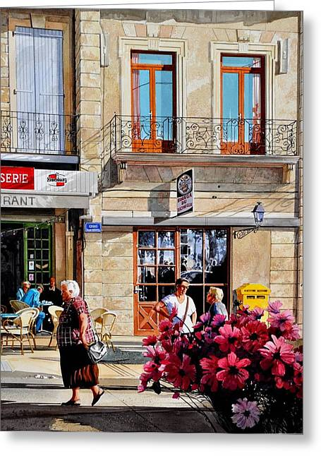 Market Cafe In Gascony Greeting Card