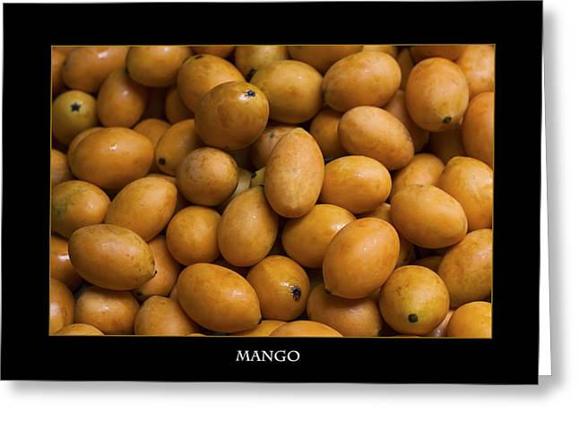 Market Mangoes Against Black Background Greeting Card by Zoe Ferrie