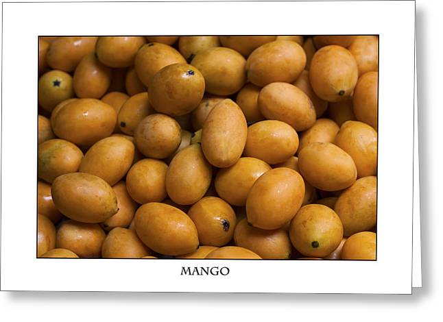 Market Mangoes Against White Background Greeting Card by Zoe Ferrie