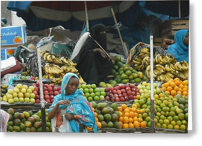 Market Of Djibuti-2 Greeting Card by Jenny Senra Pampin