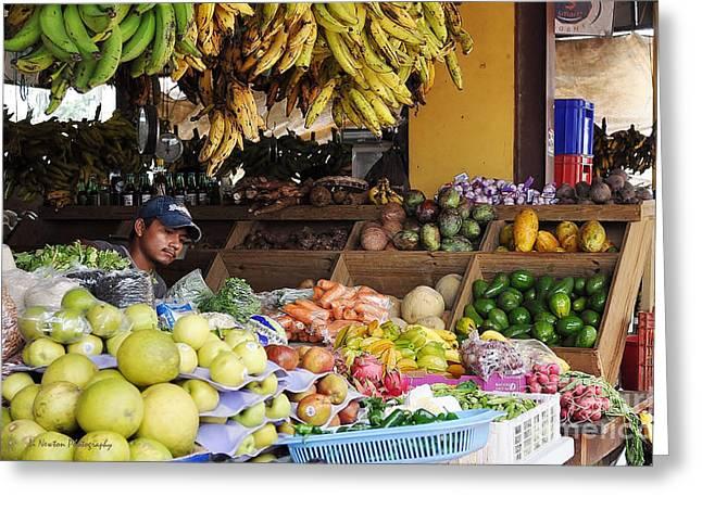 Market Vendor Greeting Card by Li Newton