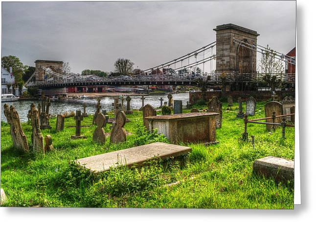 Marlow Bridge From All Saints Graveyard Greeting Card by Chris Day