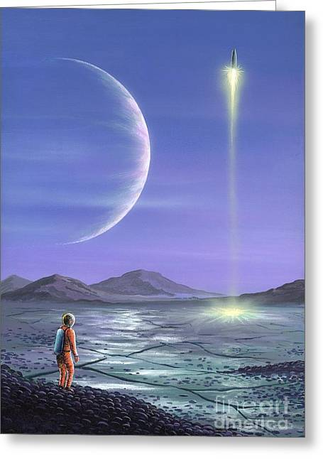 Marooned Astronaut Greeting Card by Richard Bizley and Photo Researchers