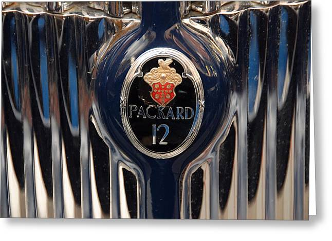 Greeting Card featuring the photograph Marque Packard 12 by John Schneider