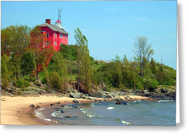 Greeting Card featuring the photograph Marquette Harbor Lighthouse by Mark J Seefeldt