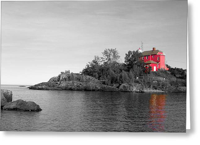Greeting Card featuring the photograph Marquette Harbor Lighthouse Selective Color by Mark J Seefeldt