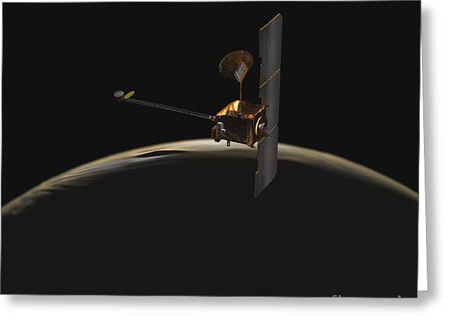 Mars Odyssey Spacecraft Over Martian Greeting Card by Stocktrek Images