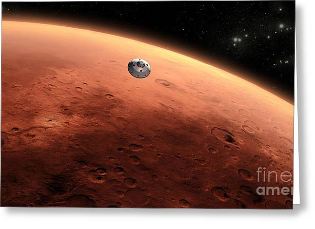 Mars Science Laboratory Approaching Mars Greeting Card by NASA/Science Source