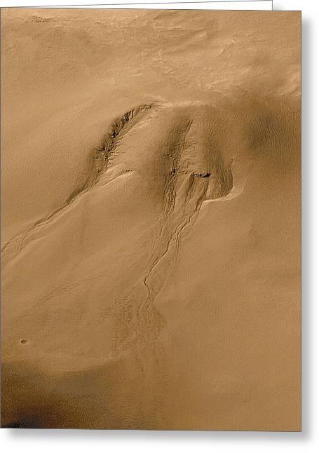 Mars Water Erosion Greeting Card
